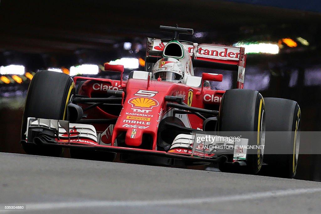 Ferrari's German driver Sebastian Vettel drives at the Monaco street circuit, on May 29, 2016 in Monaco, during the Monaco Formula 1 Grand Prix. / AFP / JEAN