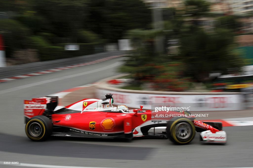 Ferrari's German driver Sebastian Vettel drives at the Monaco street circuit, on May 29, 2016 in Monaco, during the Monaco Formula 1 Grand Prix. / AFP / JEAN