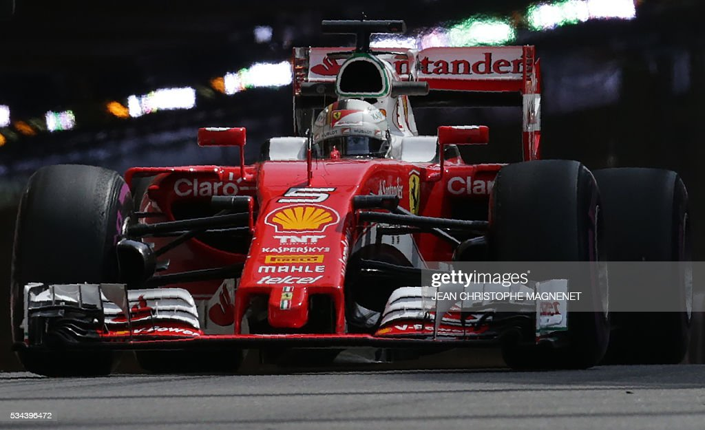 Ferrari's German driver Sebastian Vettel drives during the first practice session at the Monaco street circuit, on May 26, 2016 in Monaco, three days ahead of the Monaco Formula 1 Grand Prix. / AFP / JEAN