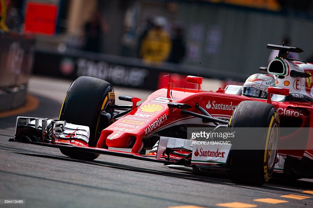Ferrari's German driver Sebastian Vettel drives during the first practice session at the Monaco street circuit, on May 26, 2016 in Monaco, three days ahead of the Monaco Formula 1 Grand Prix. / AFP / ANDREJ