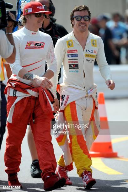 Ferrari's Kimi Raikkonen and Renault's Fernando Alonso