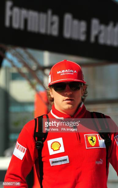 Ferrari's Kimi Raikkonen during the practice session at Silverstone Northamptonshire