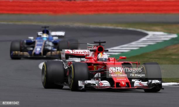Ferrari's Sebastian Vettel during second practice of the 2017 British Grand Prix at Silverstone Circuit Towcester