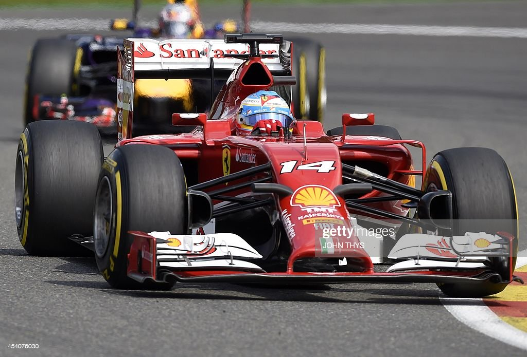 Ferrari's Spanish driver Fernando Alonso drives at the Spa-Francorchamps ciruit in Spa on August 24, 2014 during the Belgium Formula One Grand Prix.