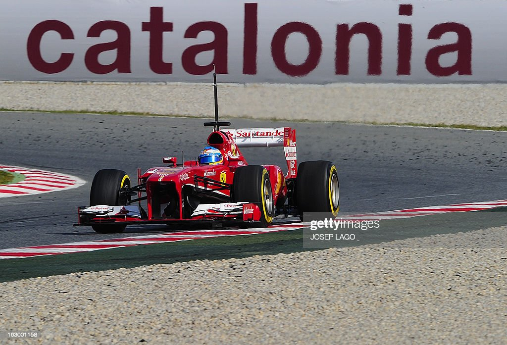 Ferrari's Spanish driver Fernando Alonso drives during the Formula One test days at Catalunya's racetrack in Montmelo, near Barcelona, on March 3, 2013.