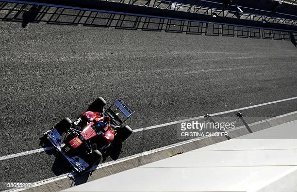 Ferrari's Spanish driver Fernando Alonso leaves the pits during a Formula One training session at Jerez racetrack on February 10 2012 in Jerez de la...