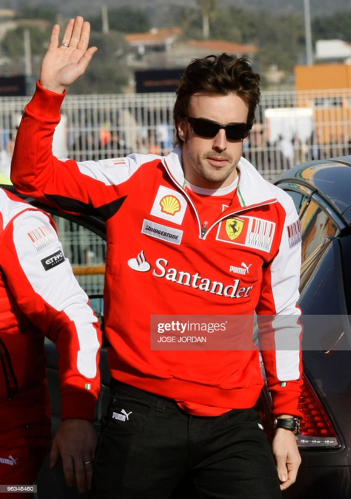 Ferrari's Spanish driver Fernando Alonso waves during a training session at Ricardo Tormo's racetrack in Cheste near Valencia on February 02 2010 AFP...