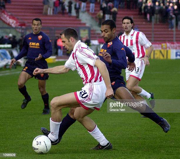 Ferreira de Rosa Emerson of Roma and Stjepan Thomas of Vicenza during a SERIE A 20th Round League match between Vicenza and Roma played at the Friuli...