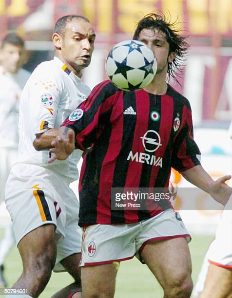 Ferreira Emerson of Roma clashes with Ivan Gattuso of Milan during the Serie A match between Milan and Roma played at the San Siro stadium on May 2...