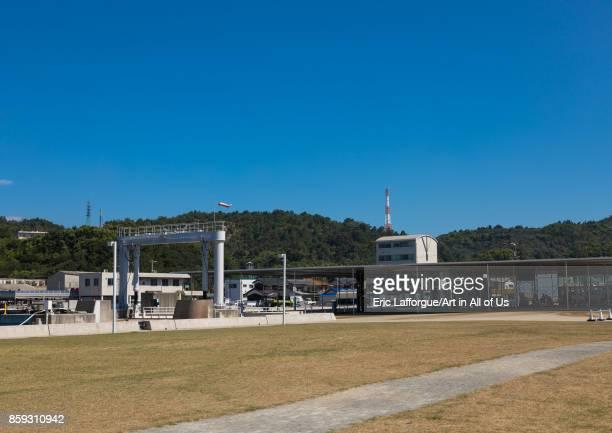 Ferries and boats port Seto Inland Sea Naoshima Japan on August 24 2017 in Naoshima Japan
