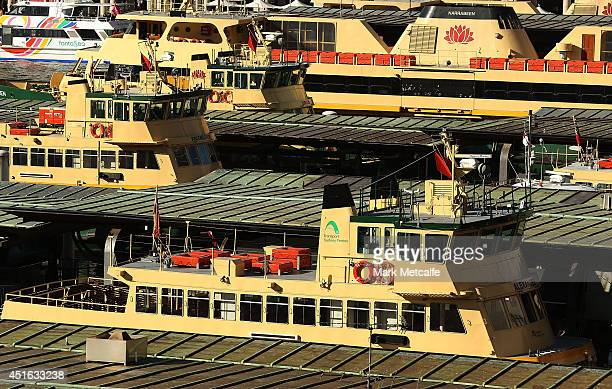 Ferries are seen waiting as Ferry Wharfs are closed to the public at Circular Quay on July 3 2014 in Sydney Australia A stop work meeting was called...