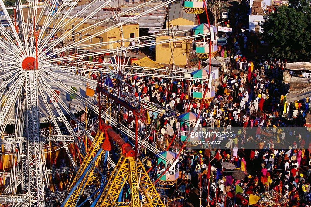 Ferris wheel and fair ground at Pushkar Mela.