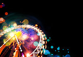 Ferris wheel background with bokeh effects