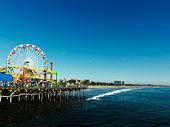 Ferris wheel beneath a blue sky Santa Monica USA.