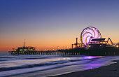 Ferris wheels sunset long exposure Los Angeles