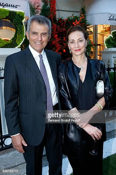 Ferruccio Ferragamo and Maria Cristina Buccellati attend the Re Opening of Salvatore Ferragamo Boutique at Avenue Montaigne on July 5 2016 in Paris...