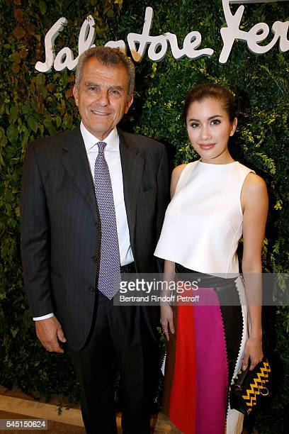 Ferruccio Ferragamo and Praya Lundberg attend the Re Opening of Salvatore Ferragamo Boutique at Avenue Montaigne on July 5 2016 in Paris France