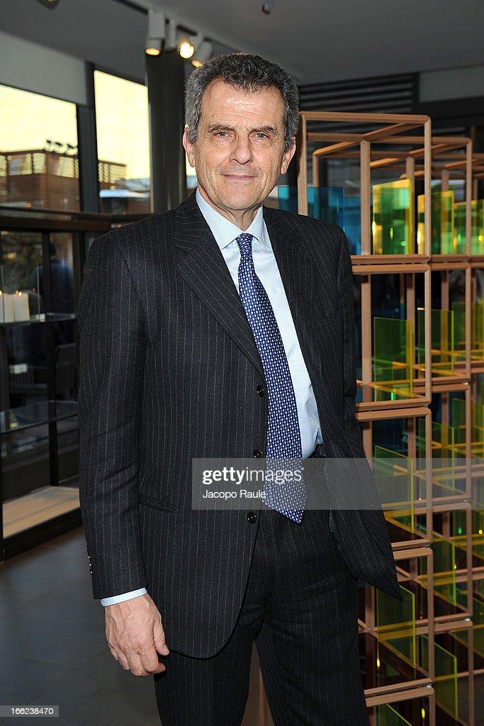 <a gi-track='captionPersonalityLinkClicked' href=/galleries/search?phrase=Ferruccio+Ferragamo&family=editorial&specificpeople=3951755 ng-click='$event.stopPropagation()'>Ferruccio Ferragamo</a> attends Ron Gilad for Molteni&C and Salvatore Ferragamo on April 10, 2013 in Milan, Italy.