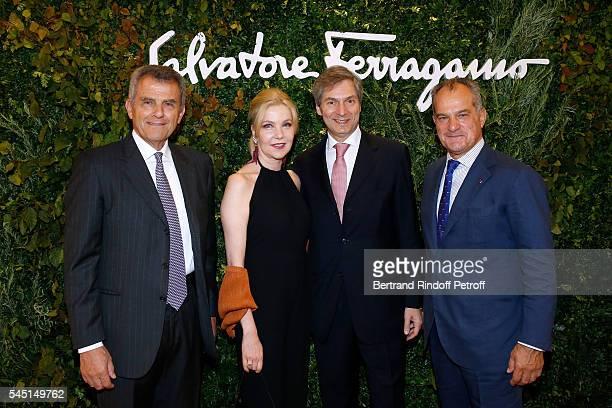 Ferruccio Ferragamo Italy's Ambassador to France Giandomenico Magliano with his wife Giada and Leonardo Ferragamo attend the Re Opening of Salvatore...