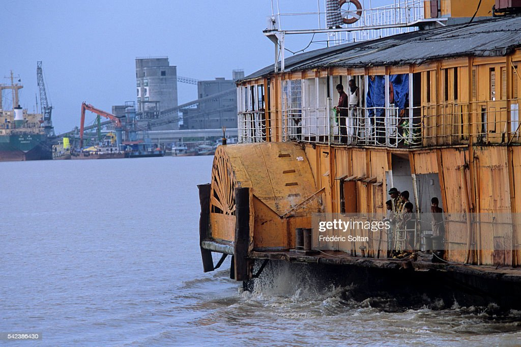 A ferry arriving at the port of Khulna