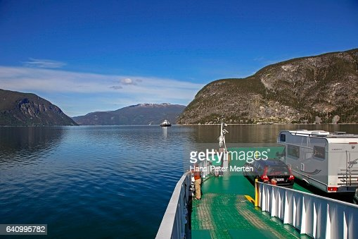 Ferry at Sognefjorden near Laerdal, Sogn og Fjordane, Norway