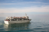 Ferry between five villages of Cinque Terre, Italy