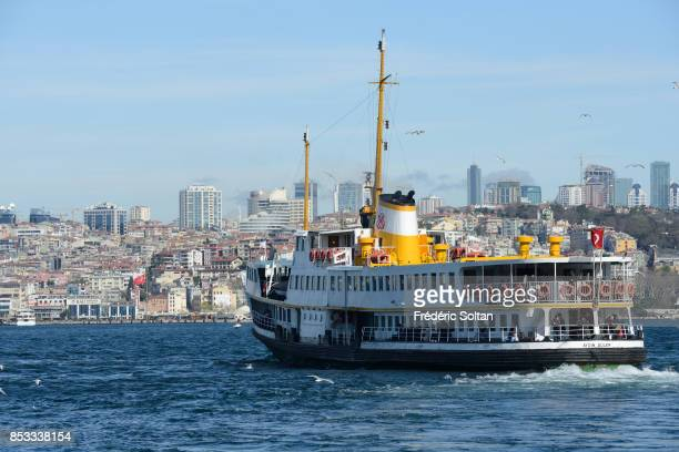 Ferry boat in Istanbul along the Bosphorus on 0ctober 15 2014 in Istanbul Turkey