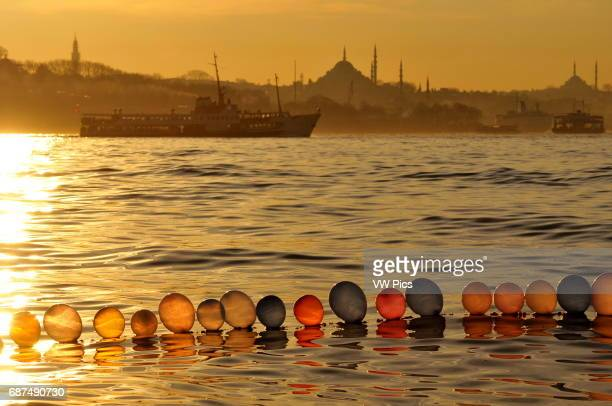 A ferry boat is sailing along the Old City of Istanbul near the point where the Sea of Marmara the Golden Horn and the Bosphorus meet In the...