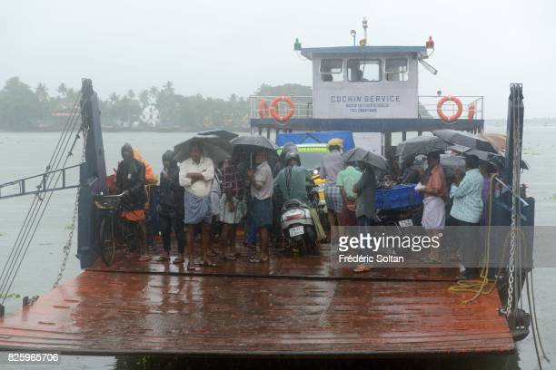 Ferry boat of Kochi lagoon during the monsoon the state of Kerala on July 19 2016 in India