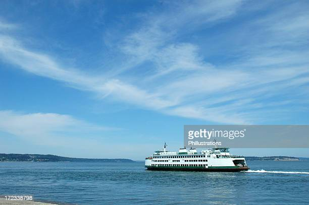 Ferry cruising on ocean under blue sky