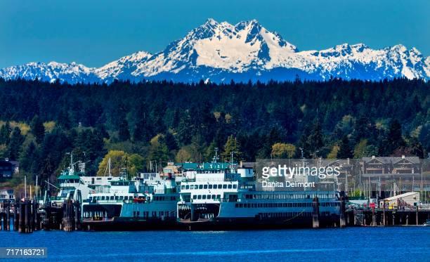 Ferry dock, Bainbridge Island, Kitsap County, Puget Sound, Washington State, USA