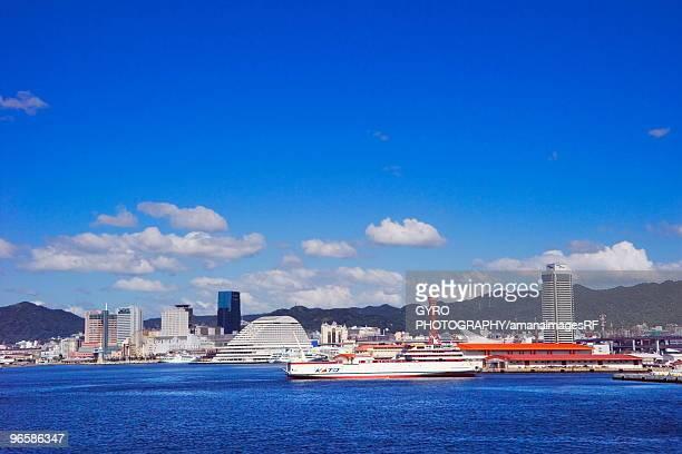 Ferry docks in Kobe harbor,  Kobe,  Hyogo Prefecture,  Japan
