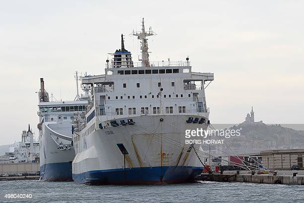 A SNCM ferry is pictured at the harbour of Marseille on November 20 after the SNCM employees have voted for a strike after the Commercial Court of...