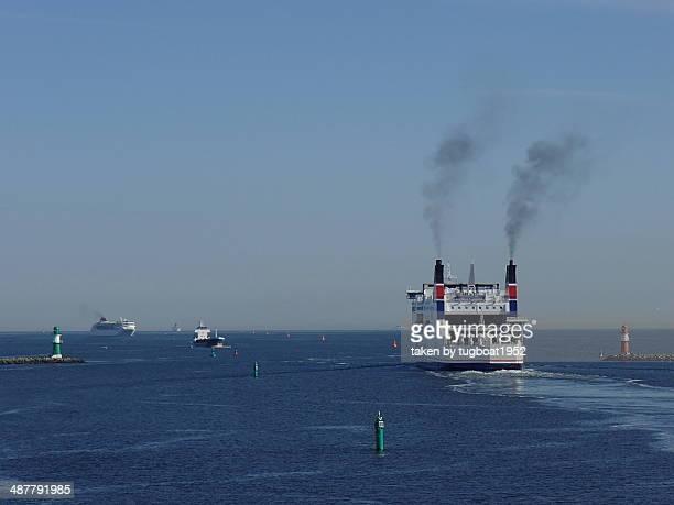 ferry leaving Rostock port Germany