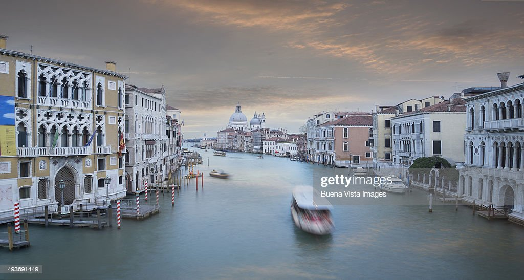 Ferry on the Grand Canal at dusk : Stock Photo