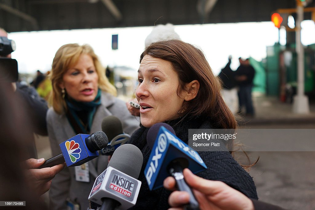 Ferry passenger Ashley Furman speaks to the media following an early morning ferry accident during rush hour in Lower Manhattan on January 9, 2013 in New York City. About 50 people were injured in the accident, which left a large gash on the front side of the Seastreak ferry at Pier 11.