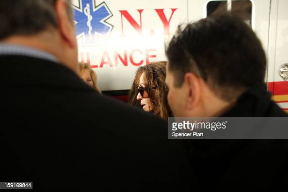 A ferry passenger speaks to the media following an early morning ferry accident during rush hour in Lower Manhattan on January 9 2013 in New York...