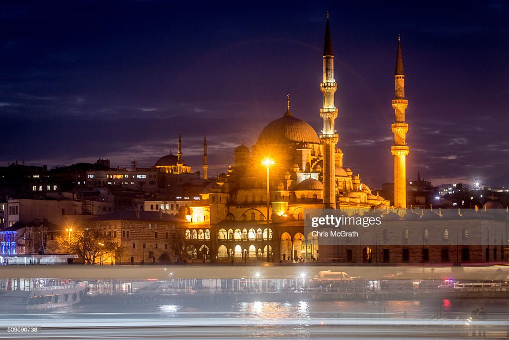 A ferry passes in front of the Eminonu Mosque on February 11, 2016 in Istanbul, Turkey. Istanbul is famous for its skyline dotted with historic mosques, it is home to more than 3000 mosques, the most of any city in Turkey and includes the famous Blue Mosque and Suleymaniye Mosque.