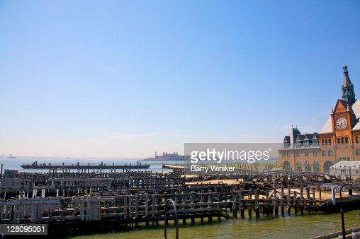 Ferry slips of Central Railroad of New Jersey Terminal, built 1889 (Victorian historic landmark), Liberty State Park, Jersey City, New Jersey