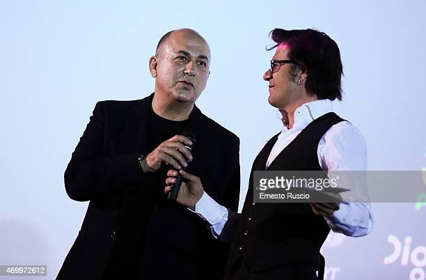 Ferzan Ozpetek and Mehmet Gunsur attend the Turkish Film Festival of Rome at Cinema Barberini on April 16 2015 in Rome Italy