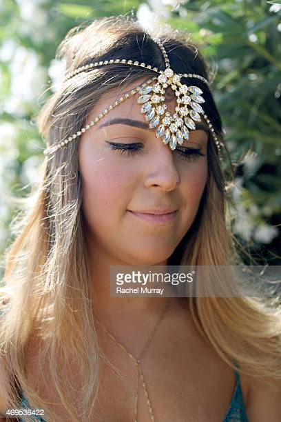 Festival attendee Bianca Atteiq of San Diego CA wearing a Jovan Jane head piece during the 2015 Coachella Valley Music and Arts Festival Weekend 1 at...