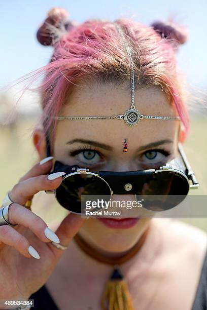 Festival attendee wearing vintage steampunk glasses at the 2015 Coachella Valley Music and Arts Festival Weekend 1 at The Empire Polo Club on April...