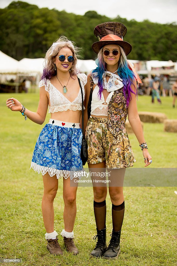 Festival attendees show their style on New Year's Eve at Falls Festival on December 31 2015 in Byron Bay Australia