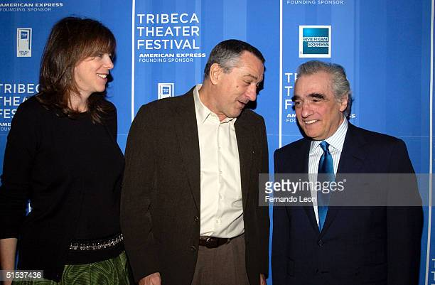 Festival CoFounders actor Robert De Niro Jane Rosenthal and director Martin Scorsese arrive at the Michael Schimmel Center for the Arts at Pace...