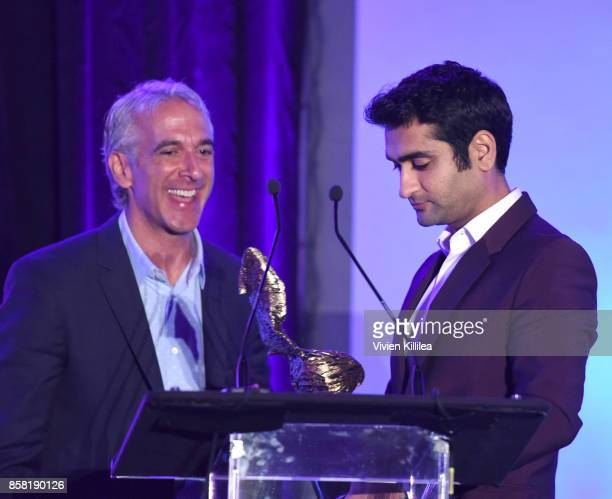 Festival cohost amd film critic Scott Mantz presents the Auteur Award to Kumail Nanjiani at the San Diego International Film Festival 2017 on October...