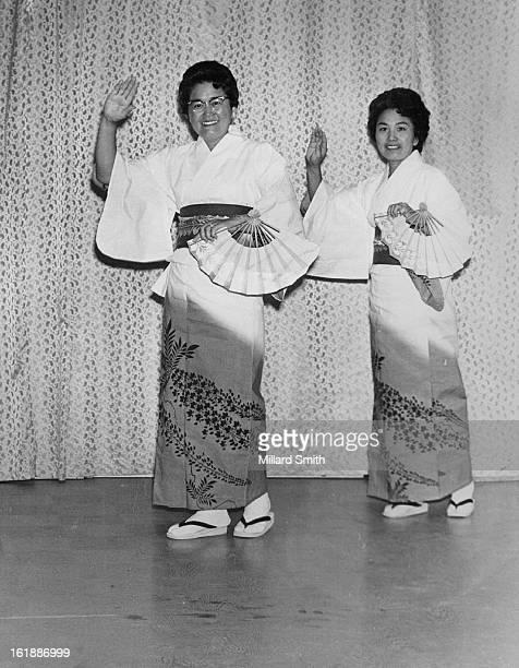 JUL 9 1969 JUL 10 1969 JUL 12 1969 Festival Dancers Mrs Violet Kagiyama left and Mrs Grace Kiyotake perform a dance they will do at annual folk dance...