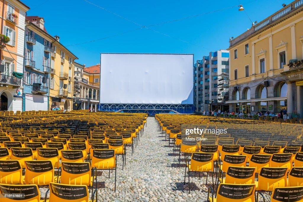 Festival del film on square piazza Grande in Locarno Switzerland