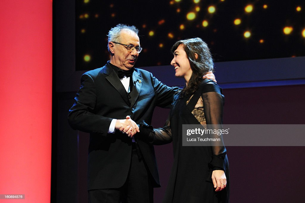 Festival Director Berlin Film Festival Director Dieter Kosslick and jury member Athina Rachel Tsangari during the Opening Ceremony of the 63rd Berlinale International Film Festival at the Berlinale Palast on February 7, 2013 in Berlin, Germany.