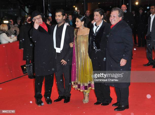 Festival director Dieter Kosslick director Karan Johar actress Kajol Devgan and actor Shah Rukh Khan attend the 'My Name Is Khan' Premiere during day...