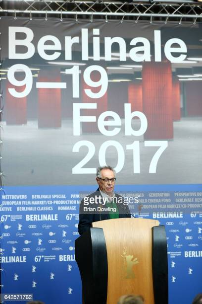 Festival Director Dieter Kosslick speaks at the awards of the Independent Juries press conference during the 67th Berlinale International Film...